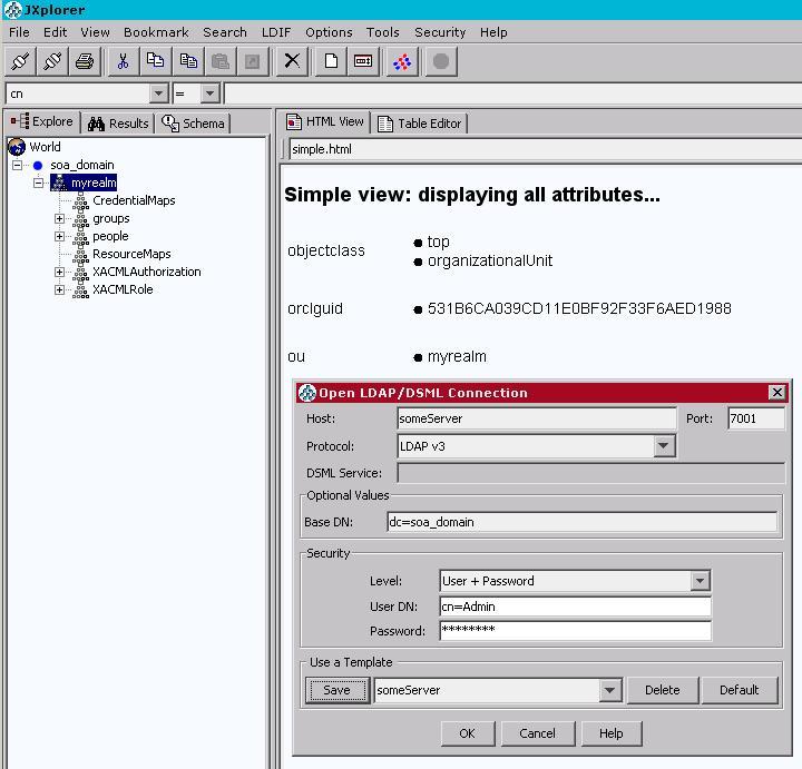 Accessing Weblogic embedded LDAP with an external LDAP