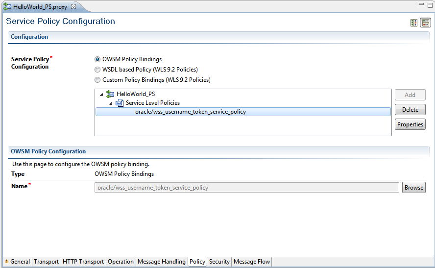 Using OWSM UsernameToken for authentication and authorisation of OSB