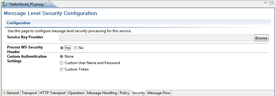 Using OWSM UsernameToken for authentication and