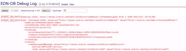 Oracle EDN DB log