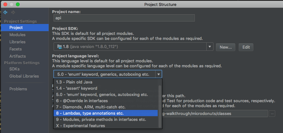 How to set the default Java version in IntelliJ IDE projects